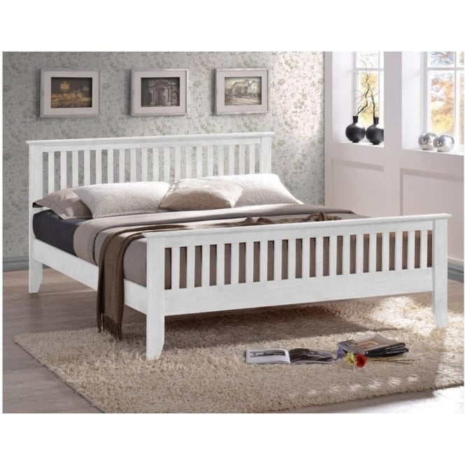 Time Living Turin 4ft6 Double White Wooden Bed