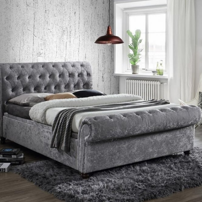 787b4f412f6 shop birlea beds Castello 6ft super kingsize steel crushed velvet side  ottoman bed CASSO6STE