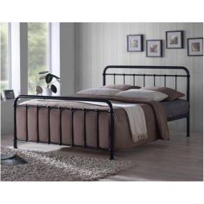 MIA4BLK Miami 4ft Small Double Black Metal Bed