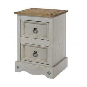 CRG509 Corona Grey Washed Two Drawer Petite Bedside Cabinet