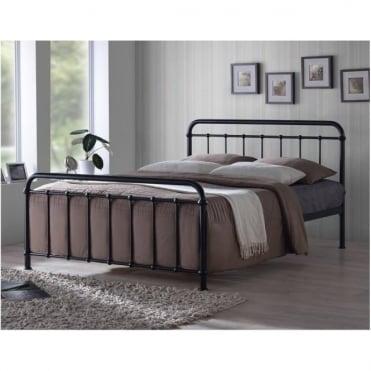 MIA4BLK Miami 4ft Small Double Black Metal Bed