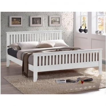 Turin 5ft King Size White Wooden Bed