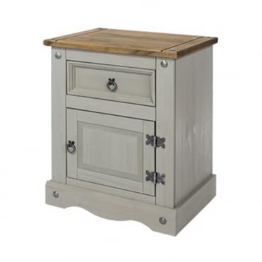 CRG510 Corona Grey Washed One Door One Drawer Bedside Cabinet