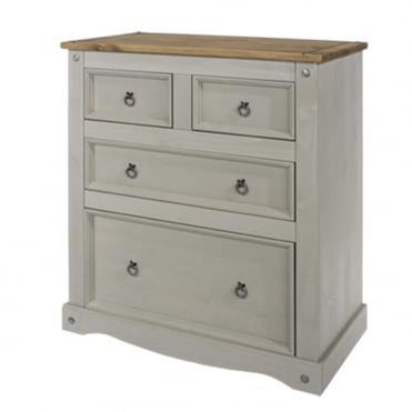 CRG512 Corona Grey Washed 2+2 Drawer Chest of Drawers