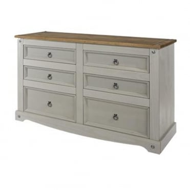 CRG513 Corona Grey Washed 3+3 Wide Drawer Chest