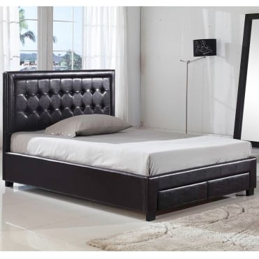 Verona 4ft6 Double Brown Faux Leather Bed