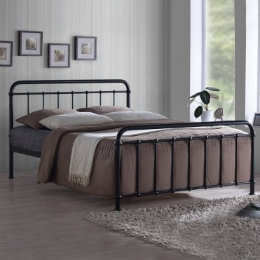 MIA46BLK Miami 4ft6 Double Black Metal Bed